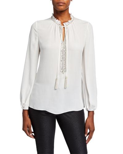 Paula Long-Sleeve Beaded Tassel-Tie Silk Blouse