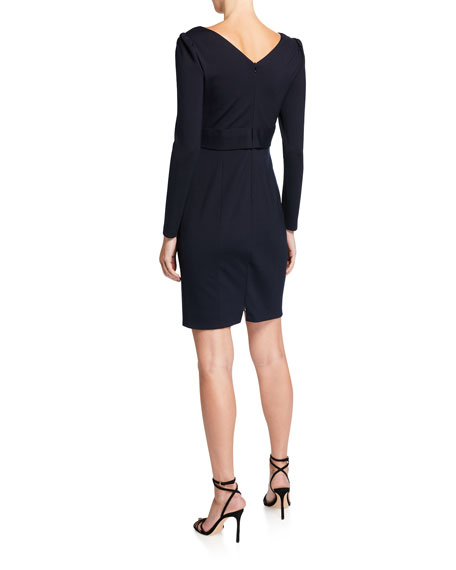 Zoe V-Neck Long-Sleeve Ponte Sheath Dress
