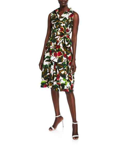 Claire Ripe Fig Button-Front Sleeveless Belted Shirtdress