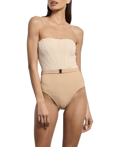 Brigitte Striped Belted Maillot One-Piece Swimsuit