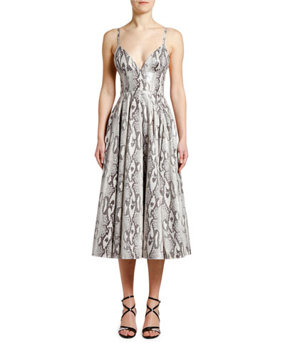 Python-Print Sleeveless Midi Dress