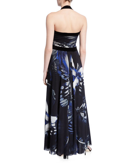 Butterfly Long Halter Dress