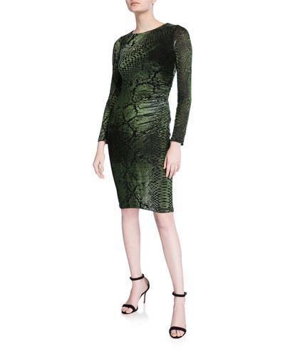 Python-Printed Long-Sleeve Fitted Velvet Dress