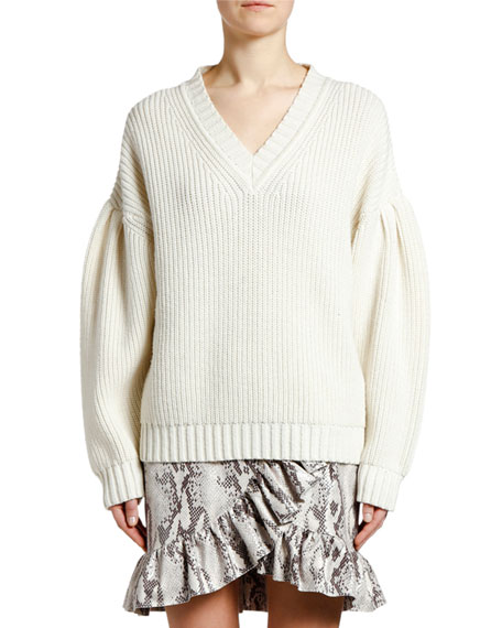 Ribbed Knit Wool Puff-Sleeve Sweater