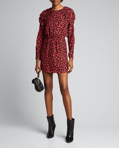 Puff-Sleeve Leopard-Print Short Dress