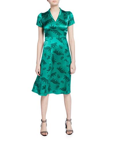 Morgan V-Neck Leopard Silk Dress