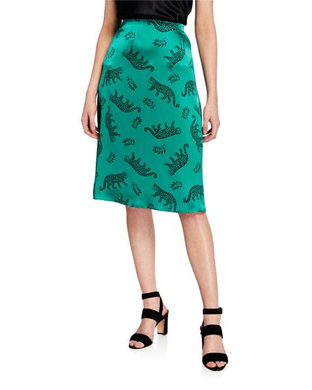 Wiona Leopard-Motif Satin High-Rise Skirt