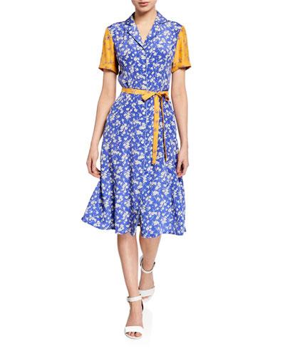 Maria Button-Down Silk Flower Dress