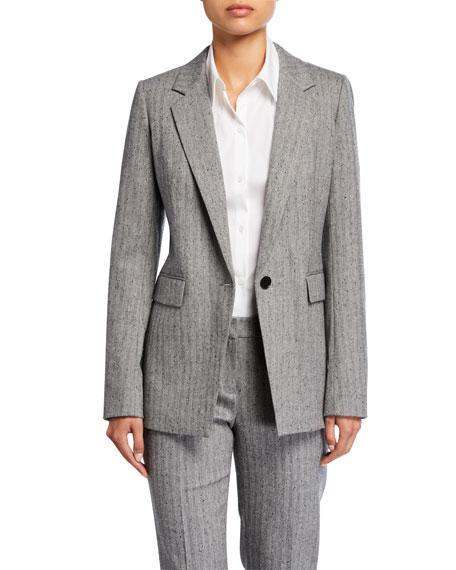 Rhoda Speckled Herringbone One-Button Blazer