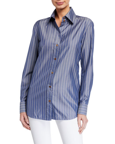 James Genteel Striped Button-Down Blouse