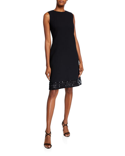 Morganna Sleeveless Nouveau Crepe Dress w/ Embellished Hem