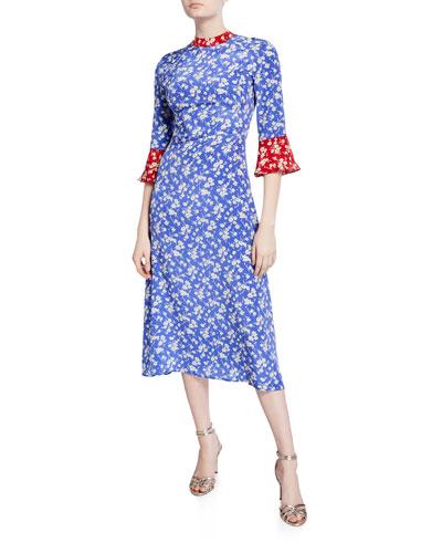 Ashley Bell-Sleeve Silk Dress