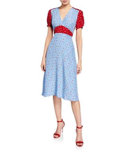 Paula Colorblock Silk Dress