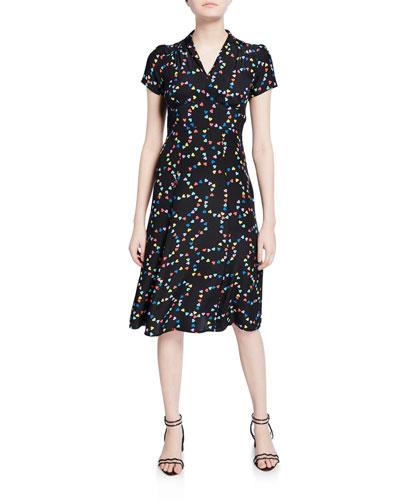 Morgan 40s V-Neck Heart Silk Dress