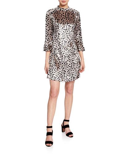 Ashley Leopard-Print Bell-Sleeve Silk Dress
