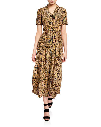 Long Maria Button-Down Pajama Dress with Belt