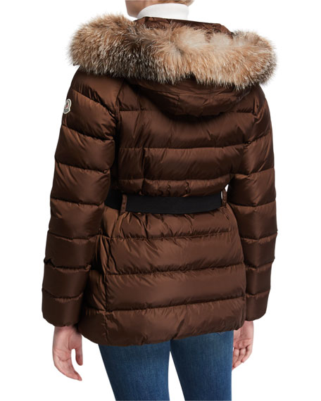 Clion Belted Puffer Jacket w/ Fur Hood