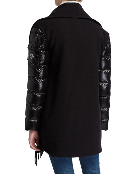 Mantella Puffer-Sleeve Cascading Wool Coat