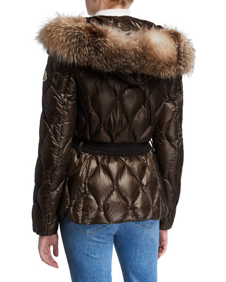 Cauvery Belted Diamond-Puffer Coat w/ Fur-Trim Hood