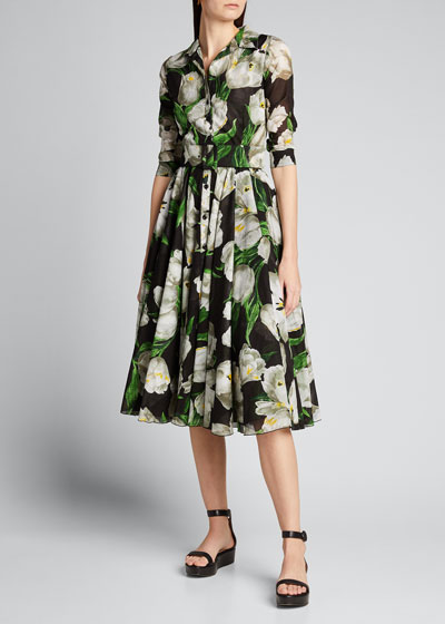 Aster Dutch Tulip 1/2-Sleeve Belted Midi Dress