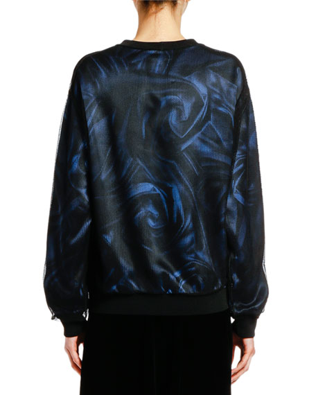 Printed Satin Top with Mesh Overlay
