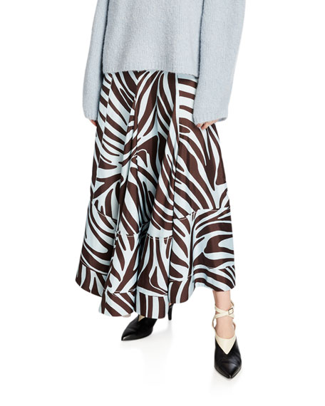 Image 1 of 1: Pleated Zebra-Print Midi Skirt with Snaps