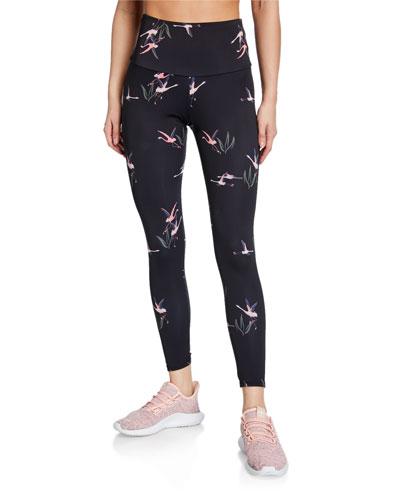 High-Rise Flamingo-Print Leggings