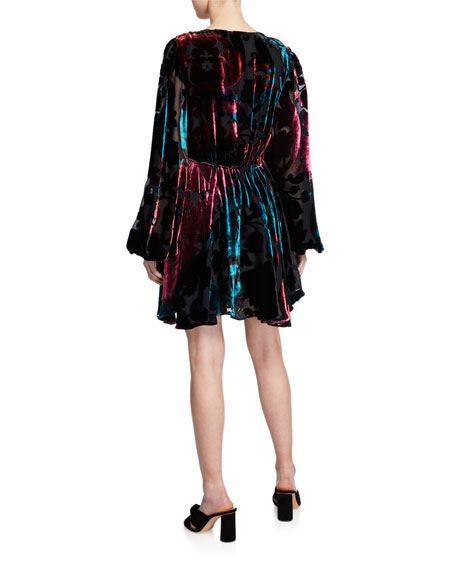 Olena Velvet Blouson-Sleeve Dress
