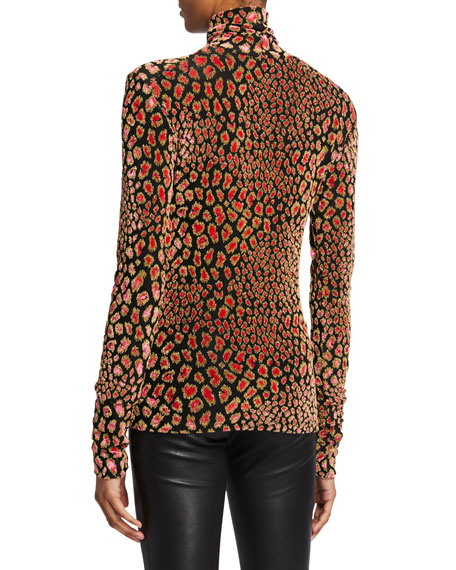 Delphine Metallic Animal-Print Turtleneck Sweater