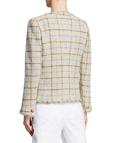 Lyra Fringe-Trim Tweed Topper Jacket
