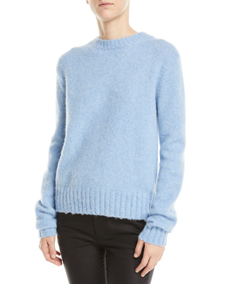 Image 1 of 1: Brushed Wool-Alpaca Crewneck Pullover Sweater