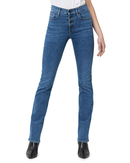 Poppy Slim Boot-Cut Jeans with Button Fly