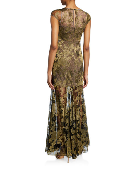 Metallic Embroidered Lace Cap-Sleeve Gown