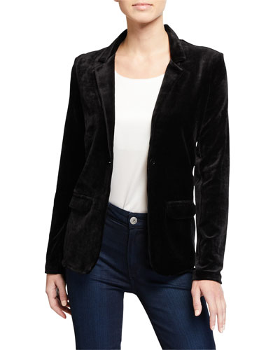One Button Velvet Blazer