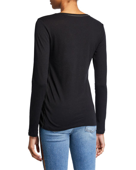 Crewneck Long-Sleeve Top with Metallic Trim