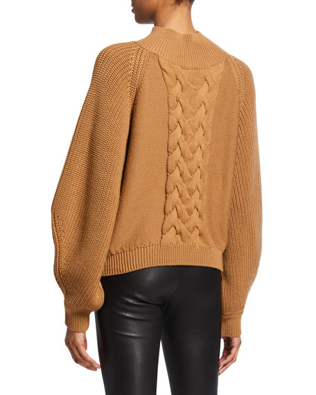 Kyla High-Neck Cable-Knit Sweater
