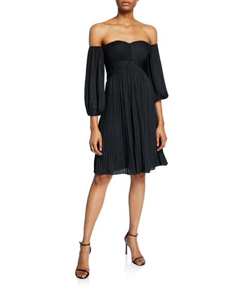 Off-Shoulder Sweetheart Pleated Dress