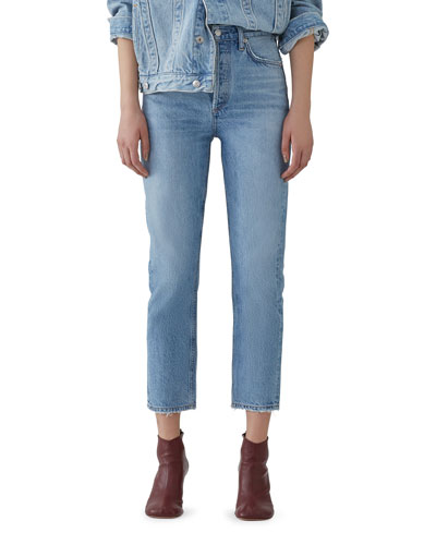 Riley Crop High-Rise Straight Organic Denim Jeans