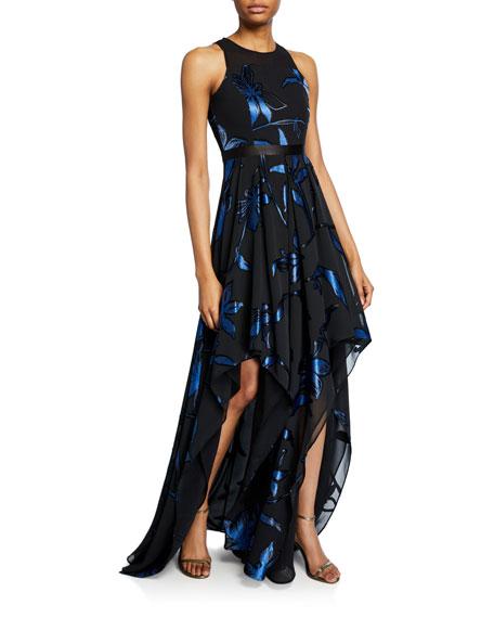 Blossom Burnout Handkerchief Hem Gown