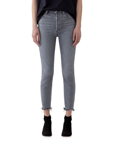 Nico High-Rise Slim Ankle Jeans with Raw Hem