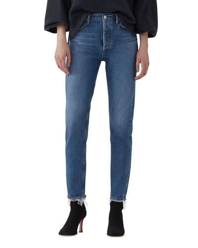 Jamie High-Rise Organic Denim Skinny Jeans with Chewed Hem