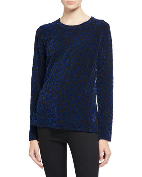 French Terry Leopard-Print Pullover Sweater