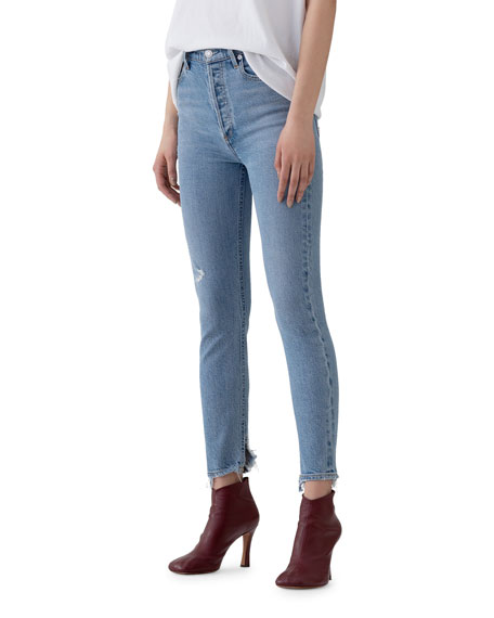 Nico High-Rise Slim Jeans with Shredded Hem