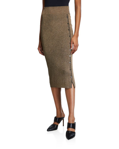 Metallic Rib Button-Front Midi Skirt