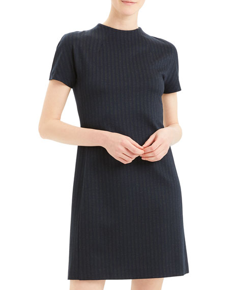 Pale Stripe Dolman-Sleeve Shift Dress
