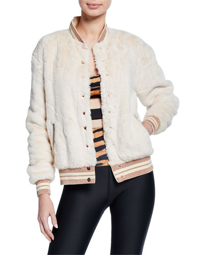 Baseball Stripe Faux-Fur Bomber Jacket