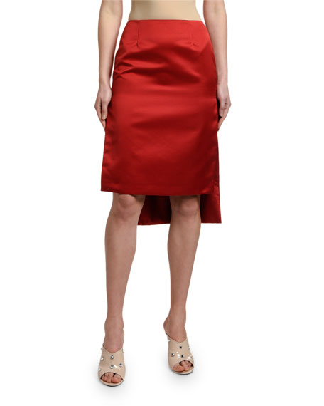 High-Low Satin Pencil Skirt
