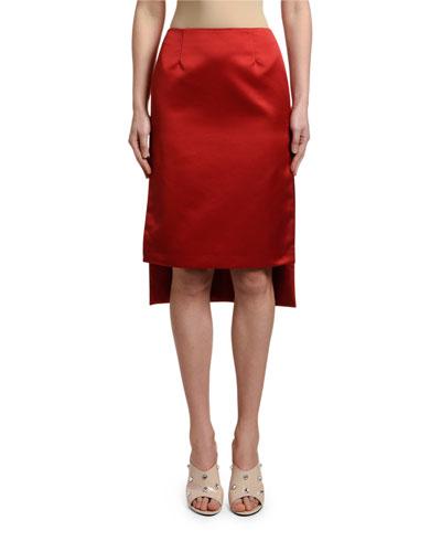 High-Low Satin Pencil Skirt