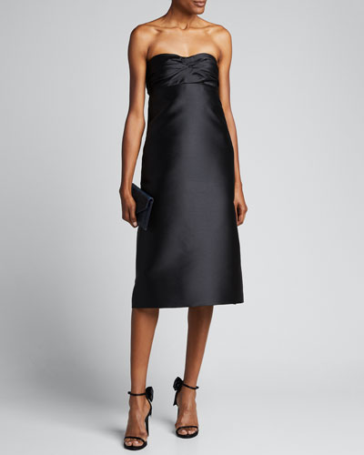 Gathered Strapless Shift Cocktail Dress