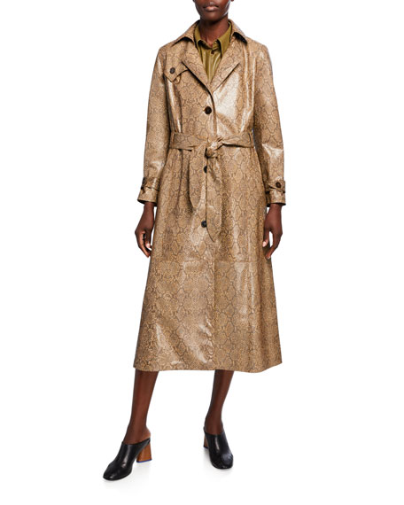 Image 1 of 1: Chiara Vegan Leather Snake-Print Trench Coat